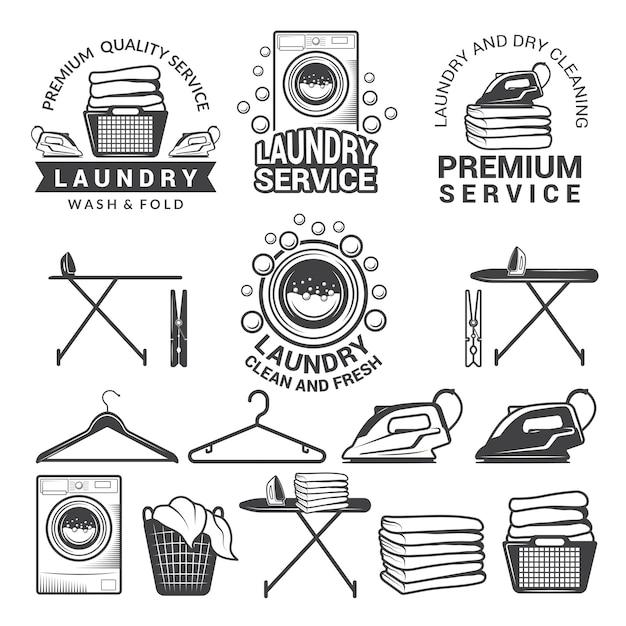 Étiquettes monochromes du service de blanchisserie. Vecteur Premium