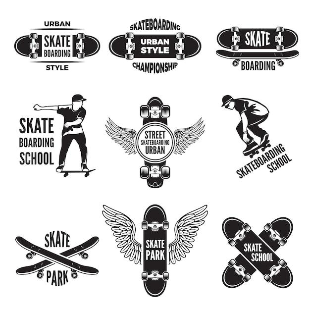 Étiquettes monochromes de patineurs. photos de skateboard Vecteur Premium