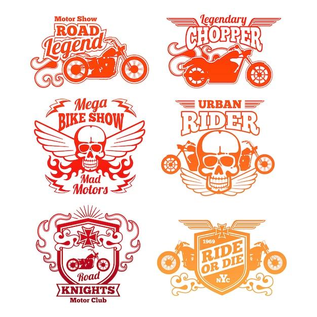 Étiquettes de moto lumineuses. insignes et logos moto rétro Vecteur Premium