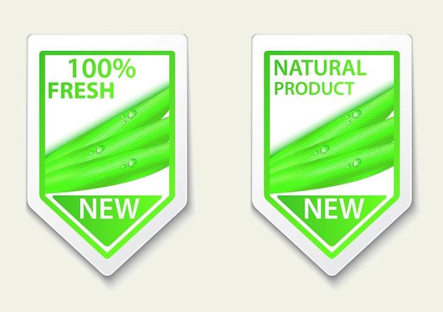 Étiquettes naturelles fraîches et autocollants sur place Vecteur Premium