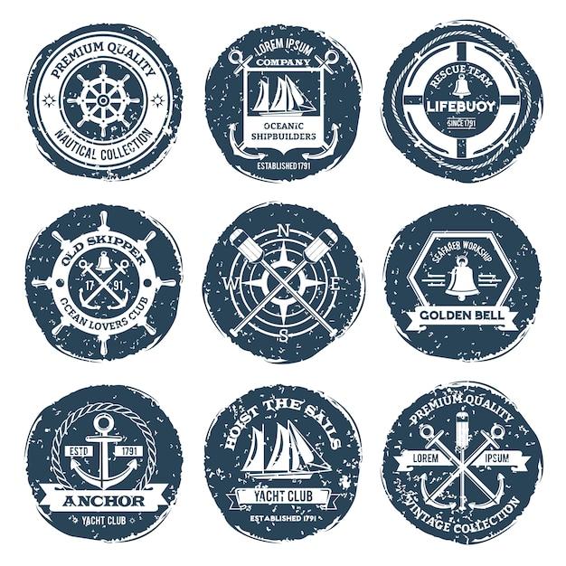 Étiquettes nautiques et timbres Vecteur gratuit