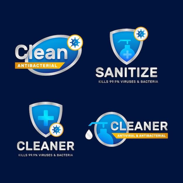 Étiquettes Nettoyantes Viricides Et Bactéricides Vecteur gratuit