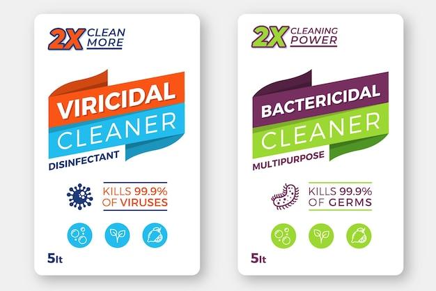 Étiquettes Nettoyantes Viricides Et Bactéricides Vecteur Premium