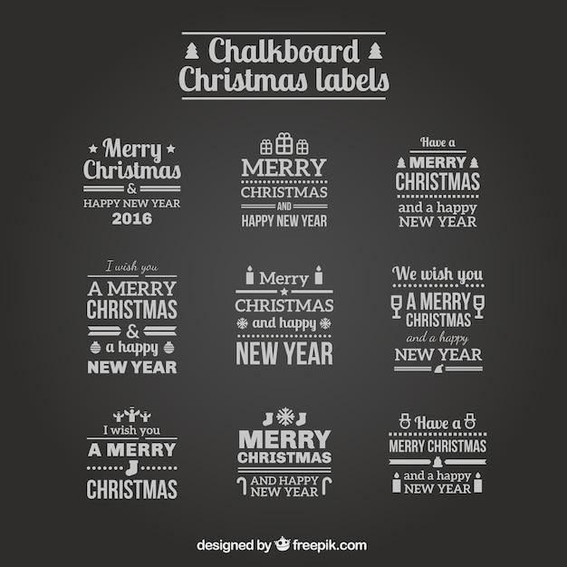 Étiquettes De Noël Ardoise Vecteur gratuit