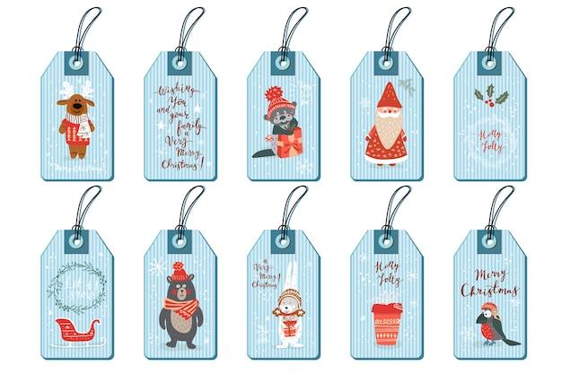 Les étiquettes De Noël Définissent Le Style Dessiné à La Main Des Animaux Mignons De Doodle Vecteur Premium