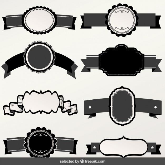u00c9tiquettes noir et blanc avec la collecte des rubans