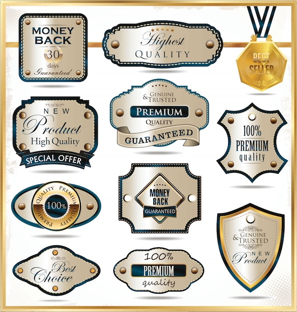 Étiquettes d'or de luxe Vecteur Premium