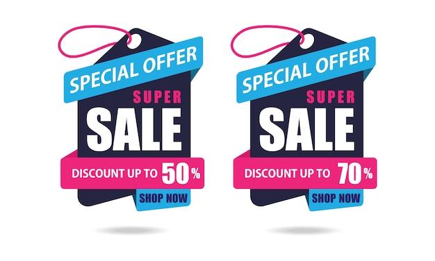 Étiquettes en papier à offre spéciale Vecteur Premium