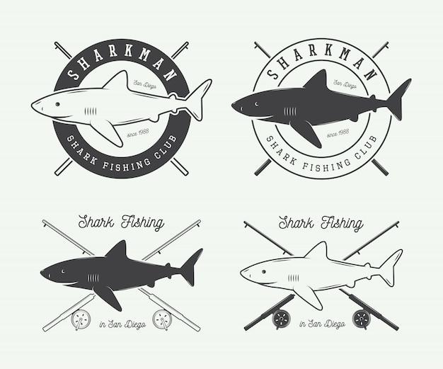 Étiquettes de pêche Vecteur Premium