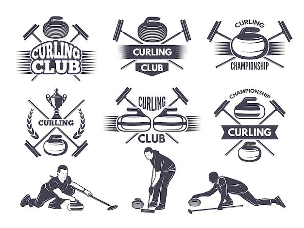 Étiquettes pour équipes sportives de curling Vecteur Premium