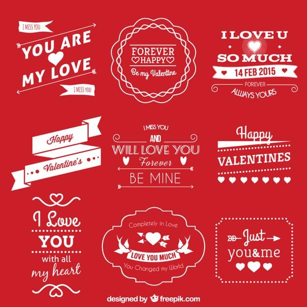 Etiquettes pour la saint valentin Vecteur gratuit