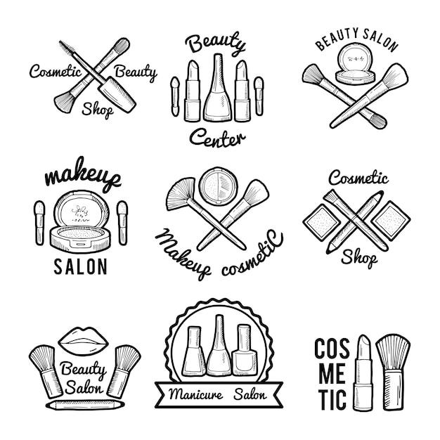Étiquettes Pour Salon De Beauté. Ensemble D'images Monochromes De Différents Outils De Maquillage Vecteur Premium