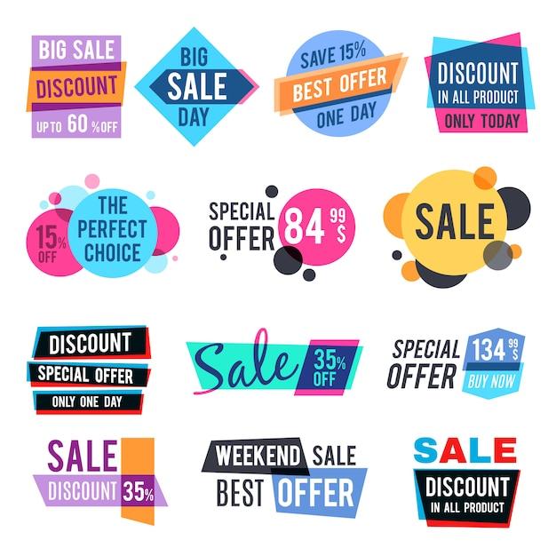 Étiquettes de prix de conception de mode et étiquettes de réduction vectorielles modèles avec effet de multiplication de couleur. vente et meilleure offre illustration spéciale Vecteur Premium