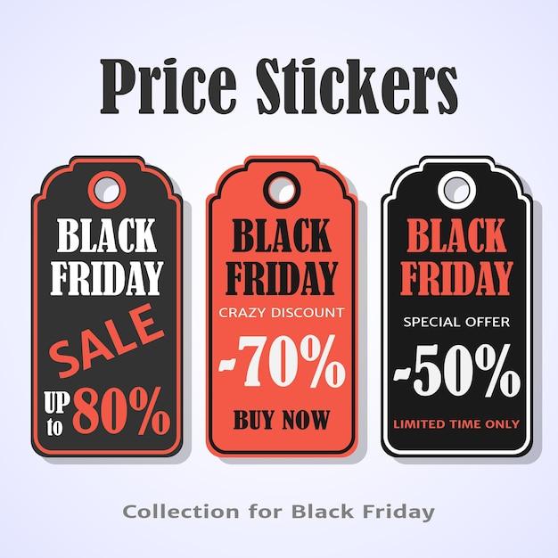 Étiquettes de prix du vendredi noir Vecteur Premium