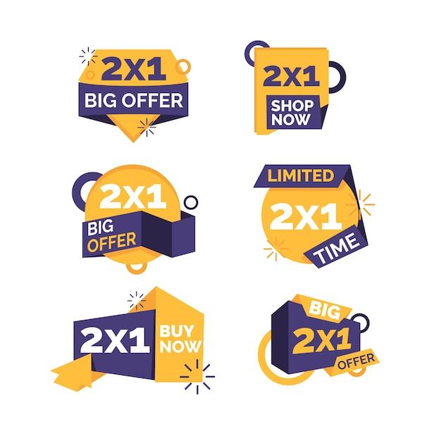 Étiquettes Promotionnelles 2x1 Vecteur gratuit