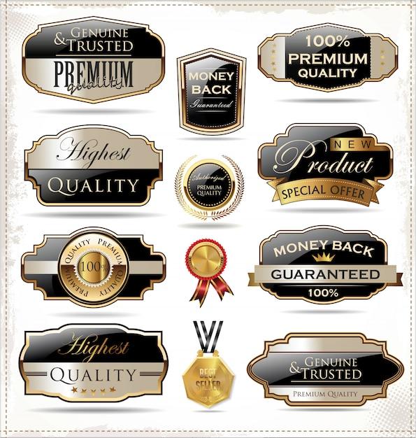 Étiquettes rétro Vecteur Premium