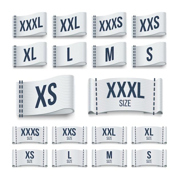 Étiquettes de ruban de tissu de vêtements de taille. étiquettes de vêtement vector ensemble. Vecteur Premium