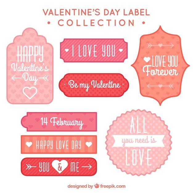 Les étiquettes De Saint Valentin Décoratif Avec Des Conceptions Différentes Vecteur gratuit