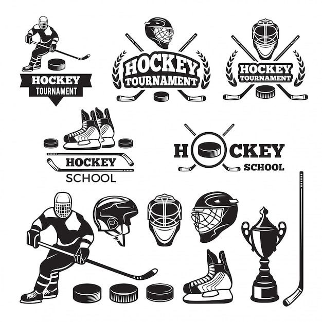 Étiquettes de sport pour l'équipe de hockey. Vecteur Premium