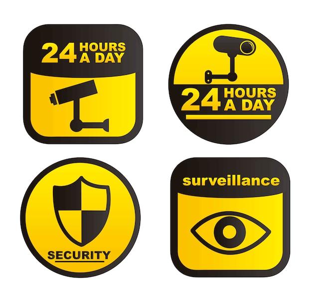 Étiquettes de surveillance isolés sur fond blanc vecteur Vecteur Premium