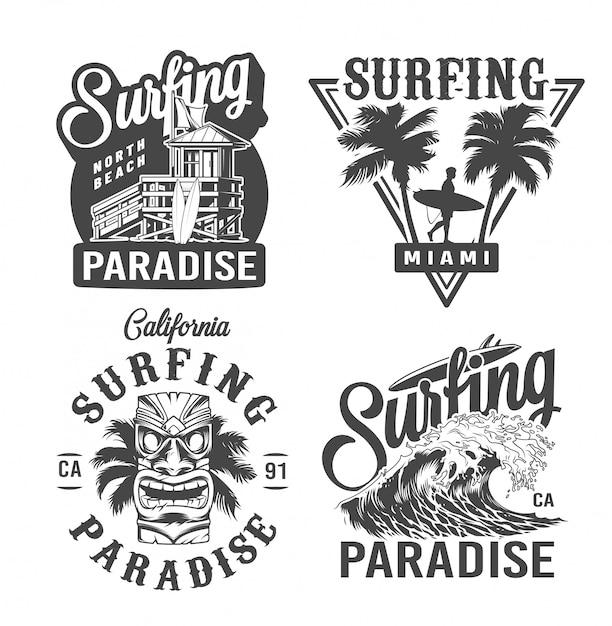 Étiquettes De Temps De Surf Vintage Vecteur gratuit