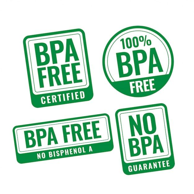 Étiquettes De Timbres Portant Des Insignes De Bisphénol-a Et De Phtalates Sans Bpa Vecteur gratuit