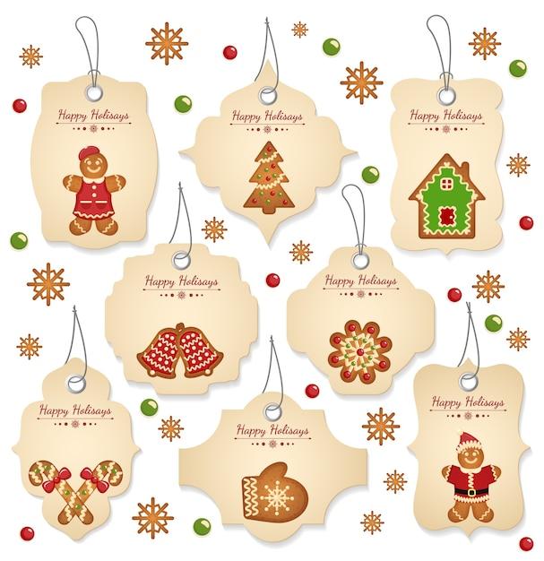 Étiquettes De Vente De Noël Avec Des éléments De Noël Sur Fond Blanc Vecteur Premium