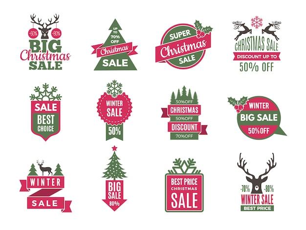 Étiquettes De Vente De Noël. Meilleure Offre De Vacances étiquettes Avec Grande Collection De Modèles De Rabais Vecteur Premium