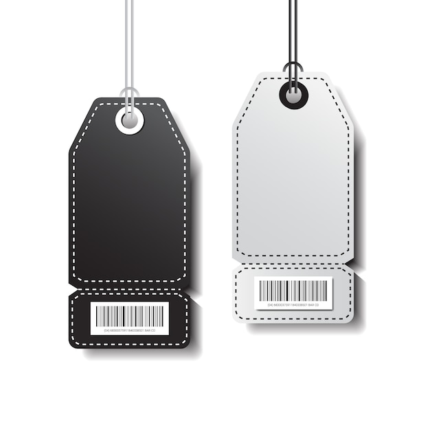 Étiquettes vides shopping modèle autocollants avec code à barres isolé sur fond blanc Vecteur Premium