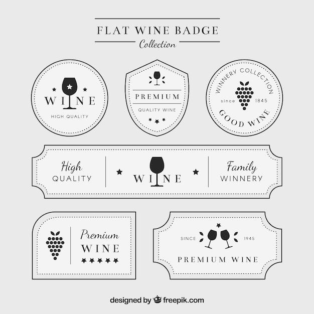 Étiquettes De Vin Blanc élégant Vecteur gratuit