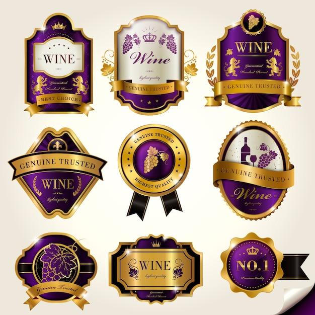 Étiquettes De Vin De Luxe Avec éléments Violets Et Dorés Vecteur Premium