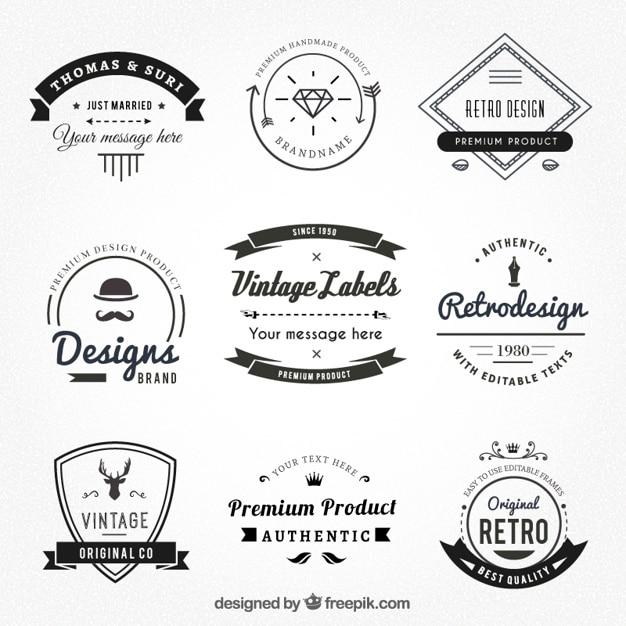 Étiquettes vintages de style de hispter Vecteur Premium