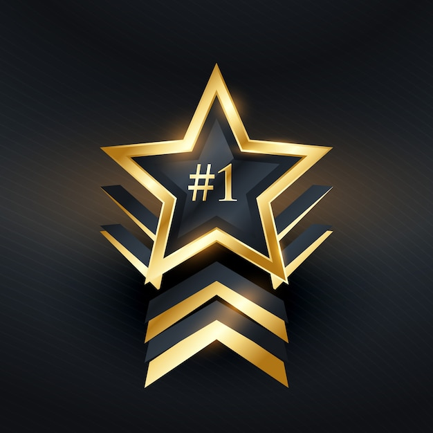 Étoile créative no 1 vecteur de conception de label gagnant Vecteur Premium