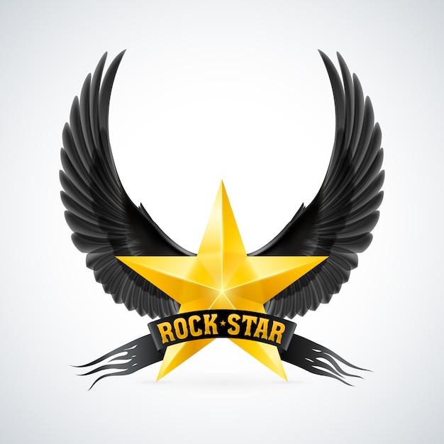 Étoile Dorée Avec Bannière Et Ailes De Rock Star Vecteur Premium