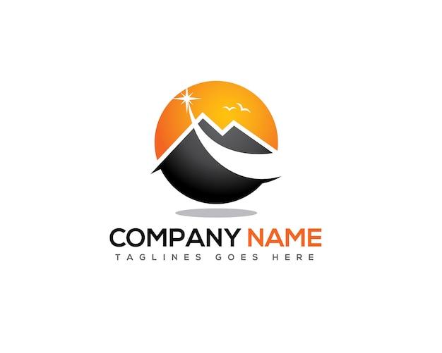 Étoile Filante Au-dessus Du Logo De La Montagne Vecteur Premium