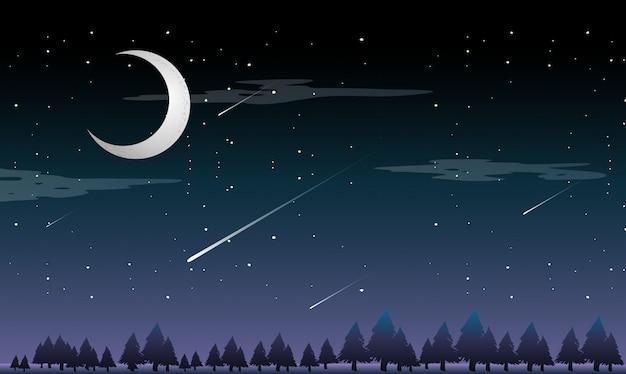 Une étoile filante la nuit Vecteur Premium
