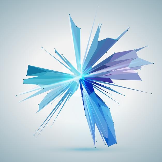 Étoile de maillage abstrait vector. points connectés de manière chaotique et polygones volant dans l'espace. débris volants. carte de style de technologie futuriste. lignes, points, cercles et plans. conception futuriste. Vecteur gratuit