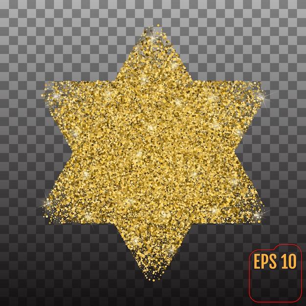 Étoile d'or de david Vecteur Premium