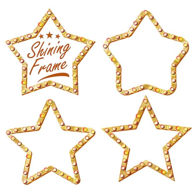 Étoile d'or set vector. cadre étoile lampe vintage shine. panneau d'affichage 3d éclatant. néon lumineux vintage. carnaval, cirque, style casino. illustration isolée Vecteur Premium