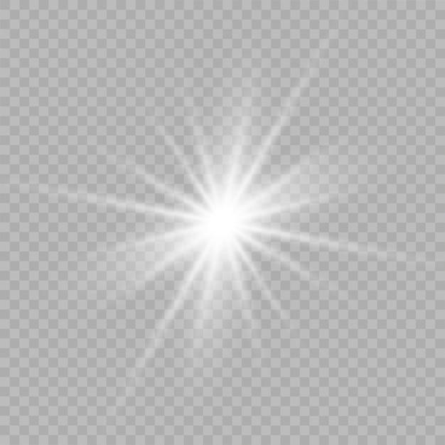 Étoiles Blanches, Lumière, Lumière Parasite, Paillettes, Flash Solaire, étincelle. Vecteur Premium