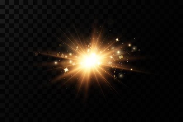 Étoiles Dorées Brillantes Isolées Sur Fond Noir. Vecteur Premium