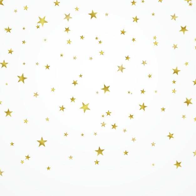 Étoiles dorées joliment disposées sur un fond blanc Vecteur Premium