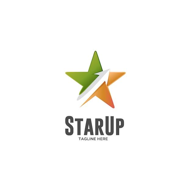 Étoiles avec étoile et flèche logo Vecteur Premium