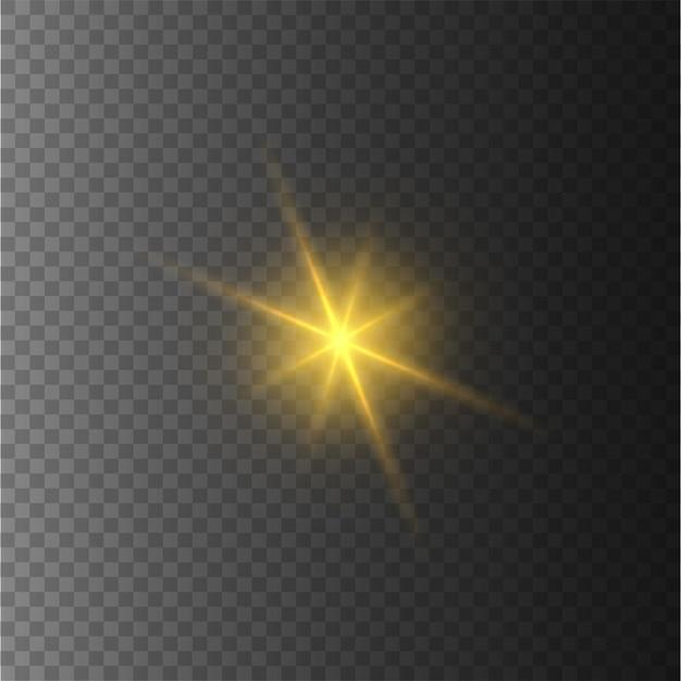 Étoiles Jaunes, Lumière, Lumière Parasite, Paillettes, Flash Solaire. Vecteur Premium