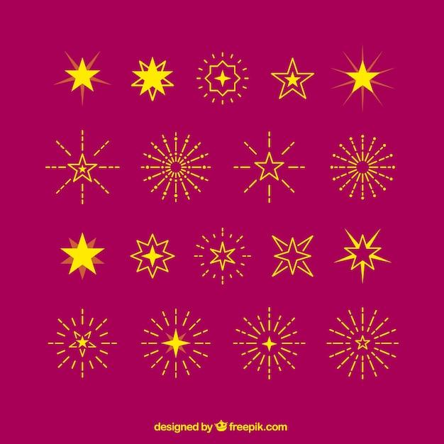 Les étoiles Jaunes Et Sunbursts Vecteur gratuit