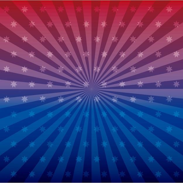 Etoiles et lignes bleues et rouges Vecteur gratuit