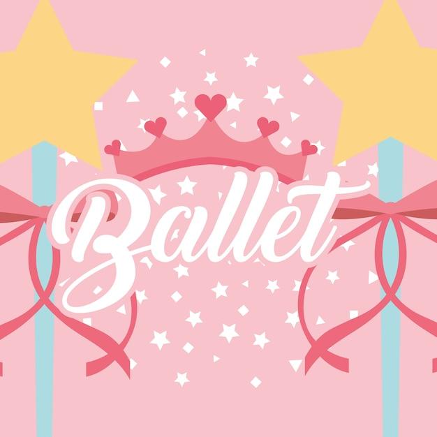 Étoiles magie baguette ruban couronne ballet fantaisie Vecteur Premium