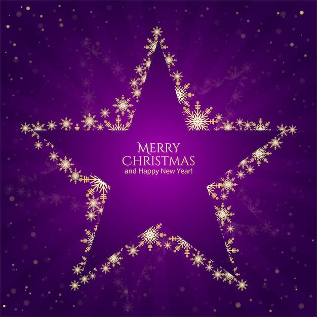 Étoiles De Noël Flocons De Neige Sur Fond Violet Vecteur gratuit