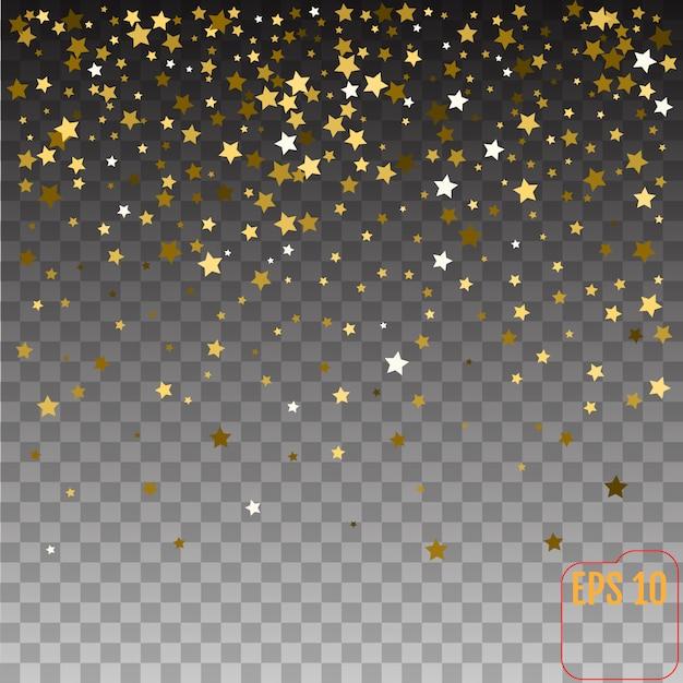 Étoiles d'or fond de vacances, étoile brillante tombant d'or sur fond transparent. Vecteur Premium