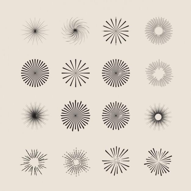Étoiles ornement & collection sunburst Vecteur gratuit